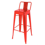 BOLERO - DL872 - Steel Bistro High Stools with Back Rest Red (Pack of 4)