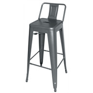 BOLERO - DM935 -  Steel Bistro High Stools with Back Rest - Gun Metal Grey (Pack of 4)