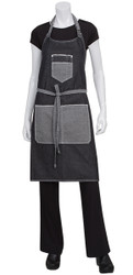 Bronx Black Denim Bib Apron With Scoop Neck