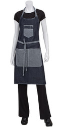 Bronx Indigo Blue Denim Bib Apron With Scoop