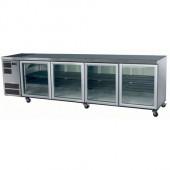 SKOPE - CL800 - SW - 4 Glass Door Underbench Chiller - White. Weekly Rental $77.00