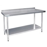 Vogue - T382 - Stainless Steel Prep Table with Splashback 1500mm. Weekly Rental $5.00