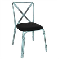 BOLERO - GM649 -  Antique Sky Blue Steel Chairs with Black PU Seat (Pack of 4)