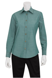 Ladies Chambray Green Mist Shirt