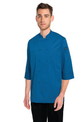 Blue 3/4 Sleeve Chef Jacket