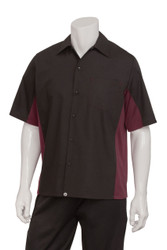 Mens Black/Merlot Contrast Universal Shirt