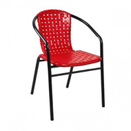 FT-1316R Outdoor Chair - Black Steel Legs - Red