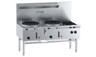 B & S - UFWWD-2SB2 - Two Hole Deluxe Waterless Wok Table with Two Side Burners. Weekly Rental 71.00