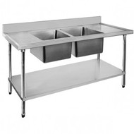 Economic 304 Grade SS Centre Double Sink Bench 1800x700x900 with two 610x400x250 sinks 1800-7-DSBC. Weekly Rental $13.00