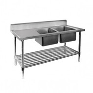 Economic 304 Grade SS Right Double Sink Bench 1500x600x900 with 400 and 500x400x250 sinks 1500-6-DSBR