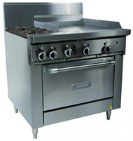 GARLAND GFE36-2G24C Restaurant Series Gas 2 Open Top Burners 600mm Griddle Convection Oven Electronic Ignition. Weekly Rental 110.00