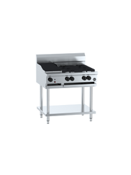 B+S - BT-SB4-CBR3 - Combination Four Open Burners & 300mm Char Broiler. Weekly Rental $42.00