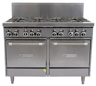 GARLAND GF48-6G12LL Restaurant Series Gas 6 Open Top Burners 300mm Griddle 2 Space Saver Ovens. Weekly Rental $120.00