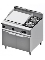 B & S Verro - VBT-SB2-GRP6 - Two Open Burners + 600 mm Griddle on Cabinet. Weekly Rental $46.00