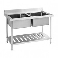 SDSB-7-1500R - Stainless Steel Double Centre Sink Bench with Pot Shelf. Weekly Rental $10.00