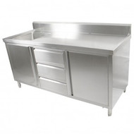 SC-7-1200L-H - Kitchen Tidy Cabinet With Left Sink 700mm Deep. Weekly Rental $24.00