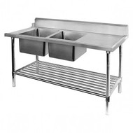 Left Inlet Double Sink Dishwasher Bench DSBD7-2400L/A. Weekly Rental $15.00