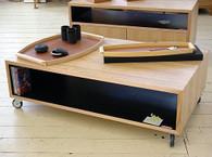 Cube Coffee Table, Stripey Ash with Black interior