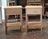 Bedside tables, drawer and shelf, stripey Ash
