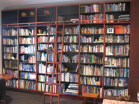 large bookcase with ladder, jarrah and black