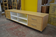 Hifi cabinet, 4 column, Beech with white interior