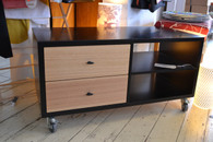 Hifi Cabinet, 2 column, Black with Ash drawers