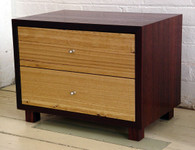 Jarrah cube with two ash drawers
