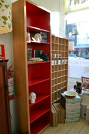 Bookcase, Tall and Slim, Barbi, Oak and Red