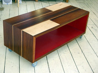 Patchwork cube, Walnut, Rock Maple and Signal Red