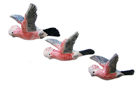 Set of 3 flying Galahs. Measuring 18, 22, 24cm across