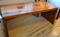 Solid timber coffee table, blackwood with redgum inserts