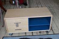 Hifi cube , Rock Maple  with blue interior, 2 column