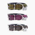 Plaid Design Dog Collar available in pink, yellow or brown