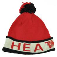 Mitchell Ness Miami Heat Cuffed Pin Pom Pom Knit Beanie Skully Red Black Winter
