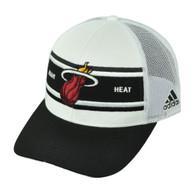 Miami Heat Adidas White Black Mesh Snapback NZM06 Hat Cap Basketball Curved Bill