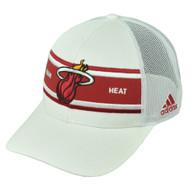 Miami Heat Adidas White Stripe Mesh Snapback NZM06 Hat Cap Basketball Curved Bill