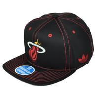 Miami Heat Adidas Black Red Snapback NZG99 Hat Cap Flat Bill Basketball Nylon
