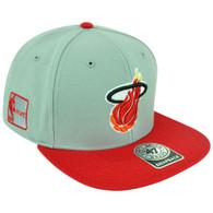 NBA Miami Heat HWC '47 Brand Big Shot Logo Flat Bill Snapback Grey Red Hat Cap