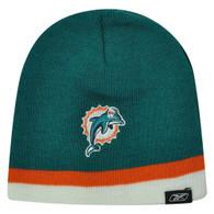 NFL Infant Miami Dolphins Youth Reebok Rbk Strip Cuffless Beanie Winter Knit