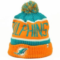 Miami Dolphins '47 Brand Forty Seven Cuffed Pom Pom Knit Beanie Calgary Orange