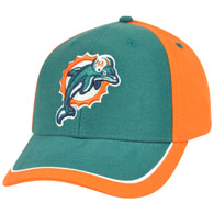 NFL Adjustable Velcro Curved Bill X2507 Construct Miami Dolphins Hat Cap 2 Tone
