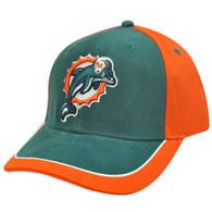 NFL Miami Dolphins Aqua Orange White Hat Cap Constructed Licensed Cotton Velcro