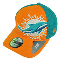 NFL New Era 3930 Miami Dolphins Flex Fit Small Medium Logo Blimp Neo Hat Cap