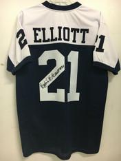 Ezekiel Elliott BLUE/WHITE TRIM Autographed Jersey w/JSA