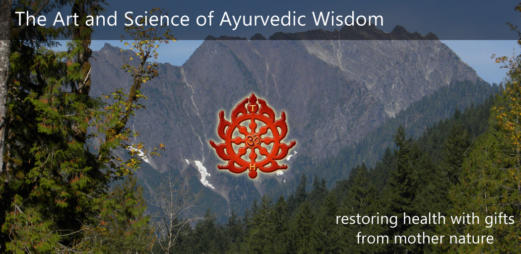 Tattva's Herbs Welcome message with Chakra logo in front of mountains