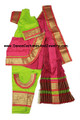 Bharatanatyam dance dress ready-made art silk FlrsntGrnPnk32