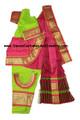 Bharatanatyam dance dress ready-made art silk FlrsntGrnPnk34