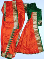 Kuchipudi dance costume ready made Art silk OrgGrn36