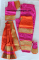 Bharatanatyam dance dress ready made art silk PnkOrg28