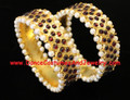 Wide Bangles Imitation Temple Jewelry
